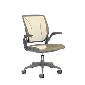 Pinstripe Mesh Yellow World Task Chair, Fixed Arms, Gray Frame,Yellow,hi-res